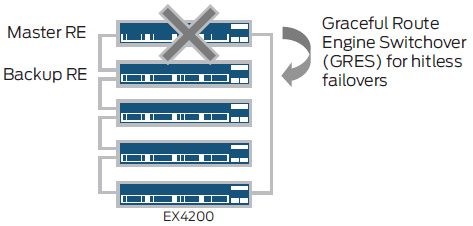 Support for Graceful Route Engine Switchover (GRES) ensures a smooth and seamless transfer of control plane functions following a master Engine failure