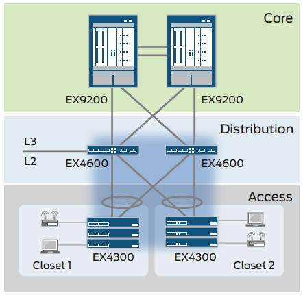 Figure 3: Mixed Virtual Chassis configuration with EX4600 and EX4300 switches.